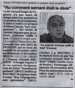 Automnale des Arts FRONTON (31) dans Revue de Presse n-407-_-le-petit-journal-dr.-verger-sculpteur1-254x300
